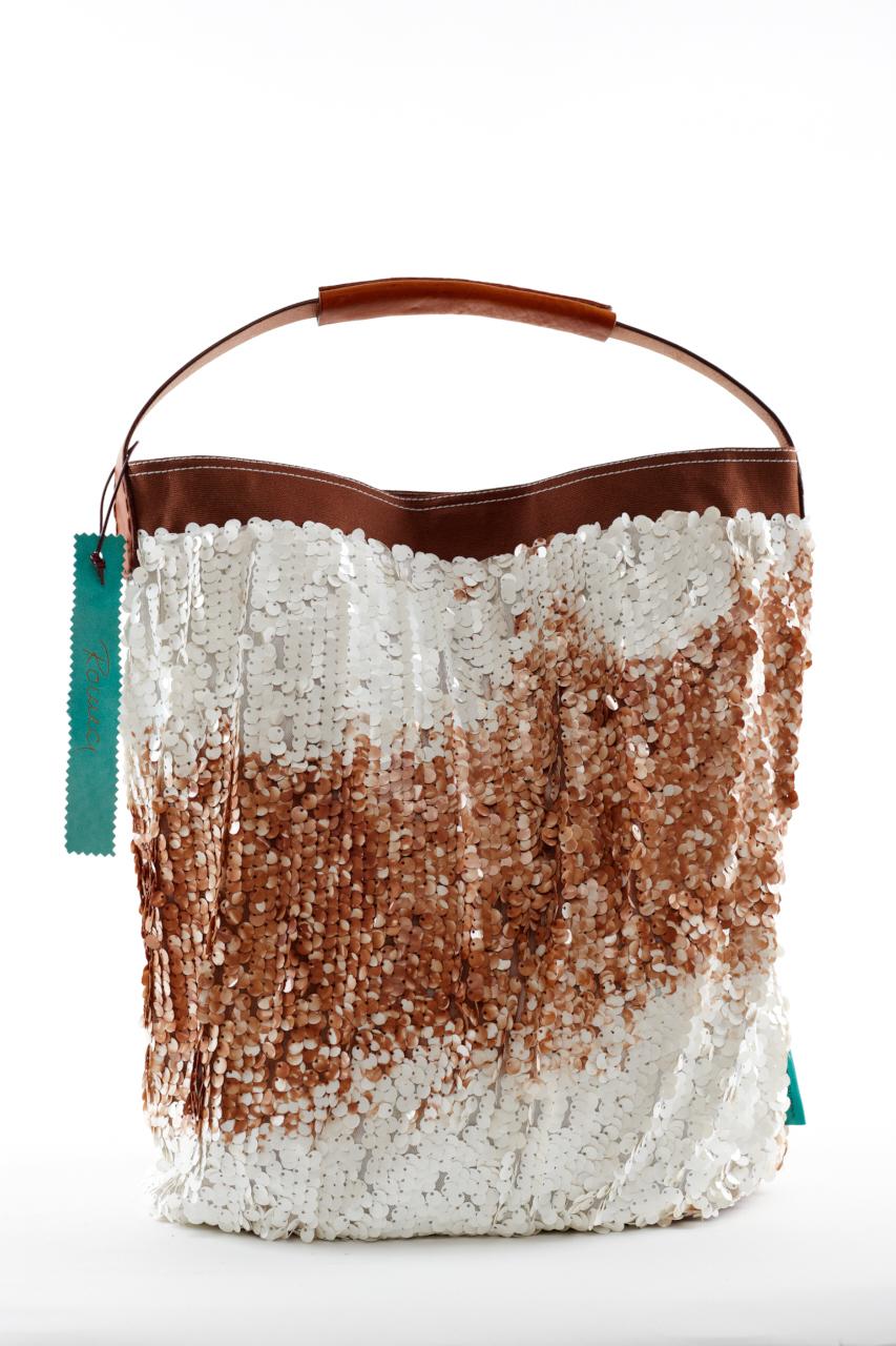 Fashionbag Pailletten Batik braun/weiß