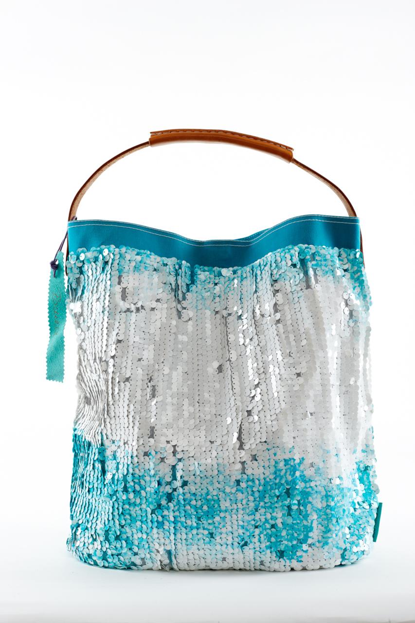Fashionbag Pailletten Batik türkis/weiß