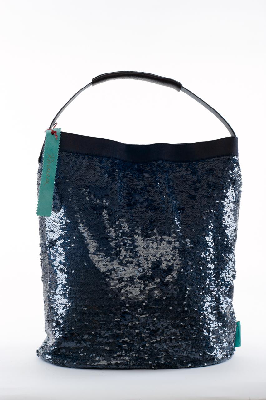 Fashionbag Pailletten Tweedoptik blau schwarz
