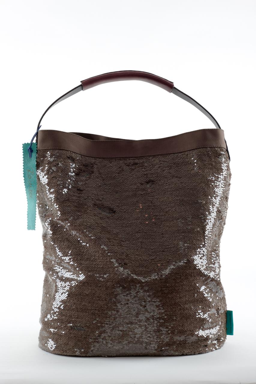 Fashionbag Pailletten Tweedoptik beige/oliv