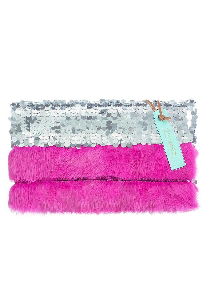 Clutch silber glänzend mit pink