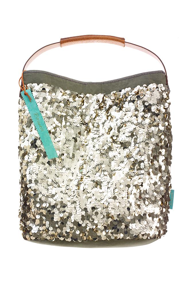Fashionbag Pailletten pale gold glänzend