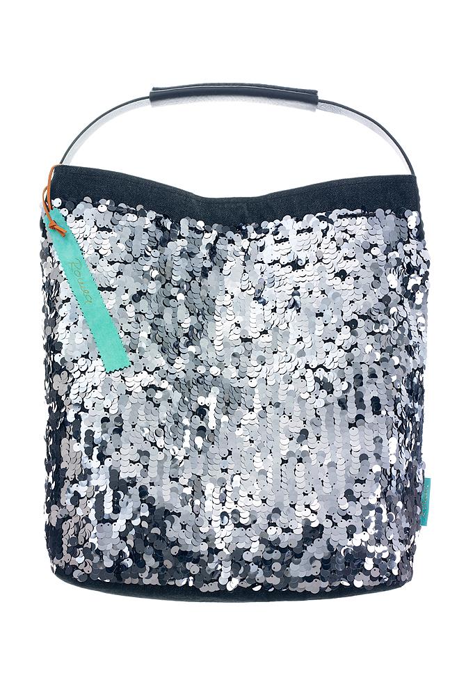 Fashionbag Pailletten silbergrau glänzend