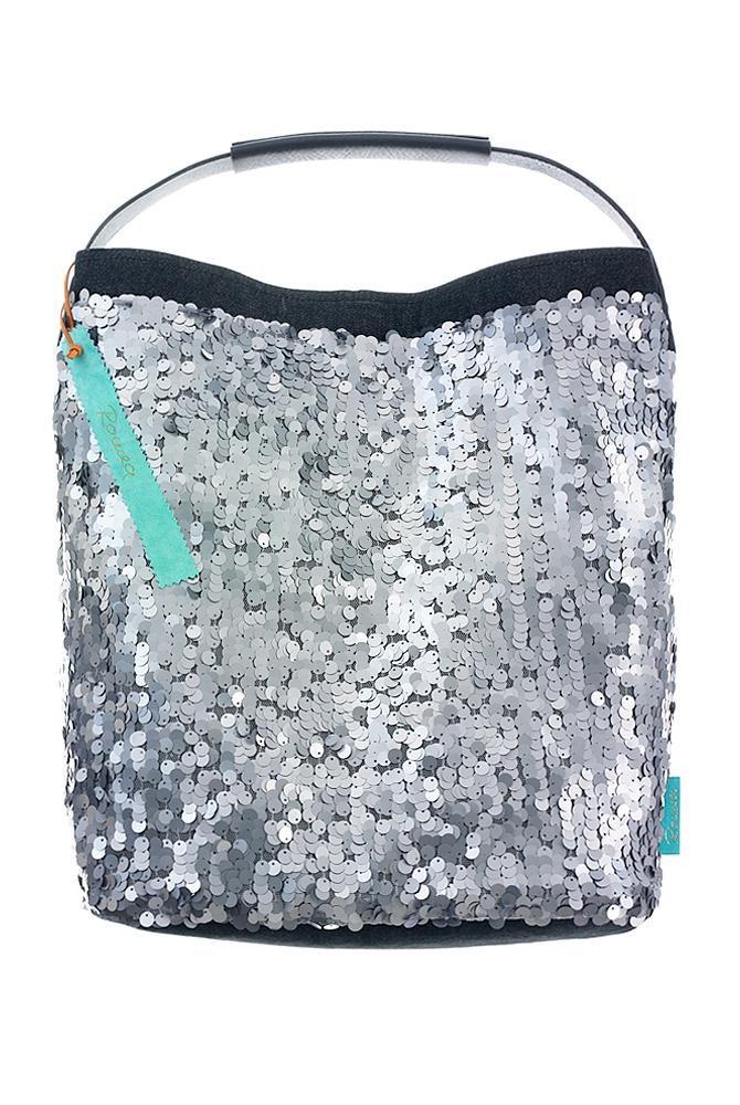 Fashionbag Pailletten silbergrau matt