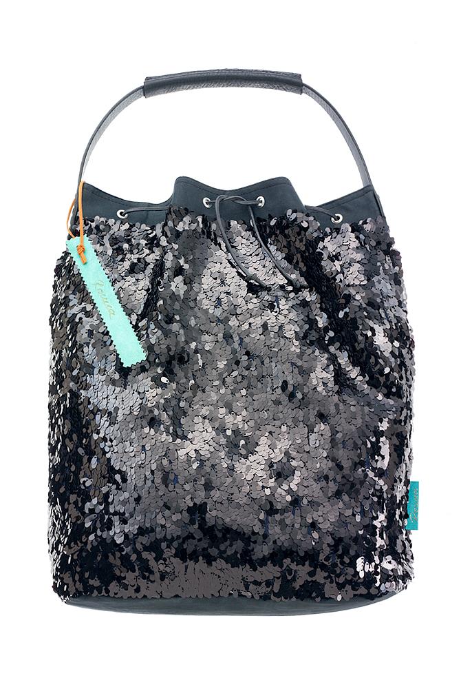 Fashionbag Pailletten schwarz glänzend
