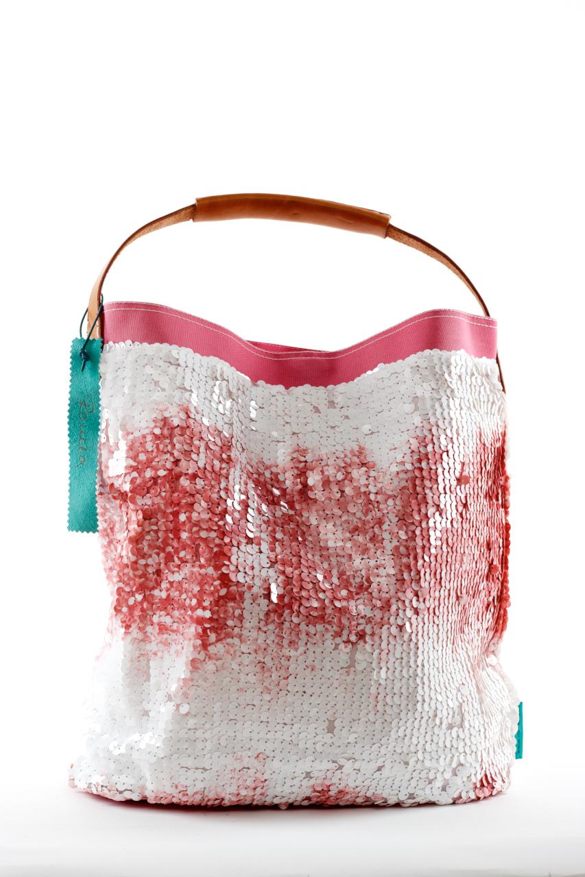 Fashionbag Pailletten Batik rose/weiß