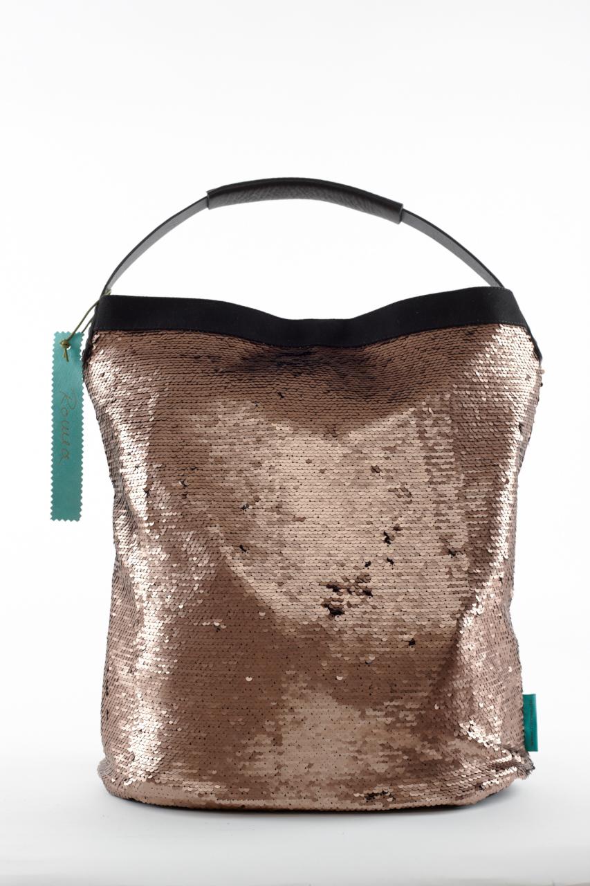 Fashionbag Pailletten kupfer/schwarz verstrichen