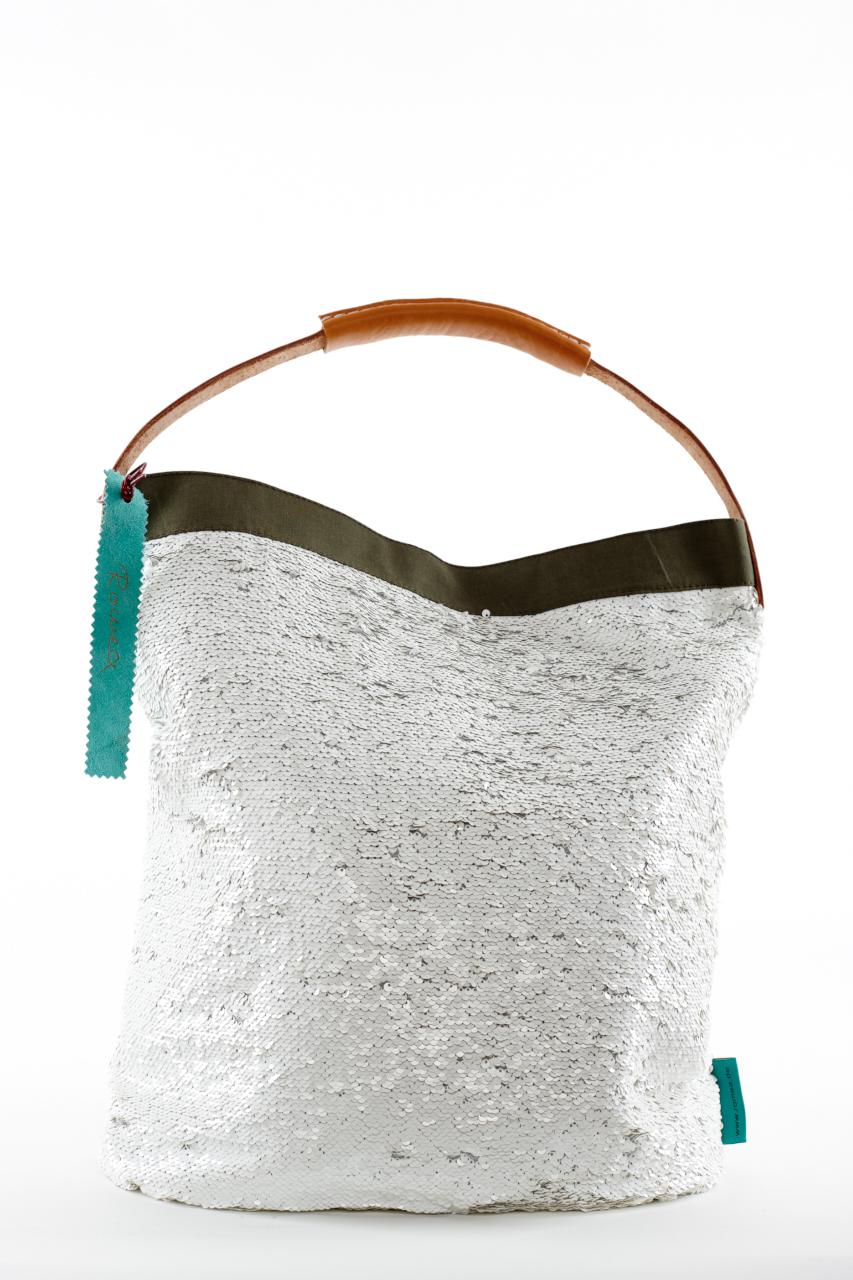 Fashionbag Pailletten weiss verstrichen